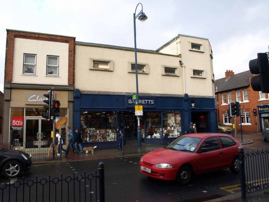 Clarkes Shoe and Barrett's shops in November 2008, Market Square, St Neots