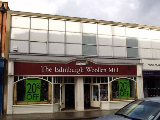 The Edinburgh Woollen Mill clothes shop, 3 High Street, St Neots, in November 2008