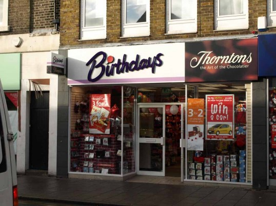 Birthdays Card Shop, and Thorntons Chocolatier, St Neots High Street in November 2008