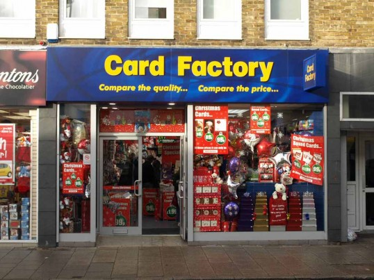 Card Factory card shop, St Neots High Street, in November 2008