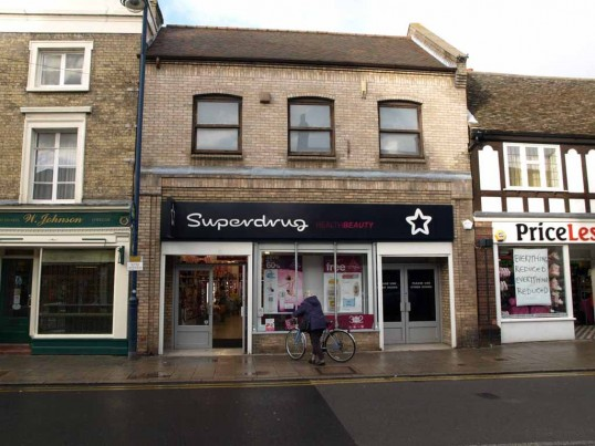 Superdrug health products, St Neots High Street, in November 2008 (once R & S Hills Electrical Shop)