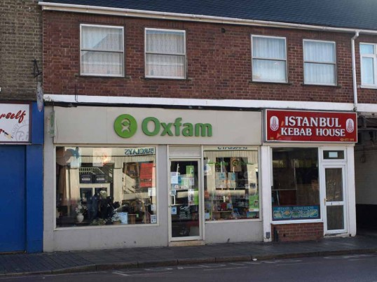 Oxfam Charity Shop and the Istanbul Kebab house in St Neots High Street in November 2008