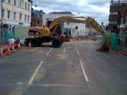 Roadworks on St Neots High Street, which caused havoc with the traffic for three weeks while the High Street was closed, in July 2009