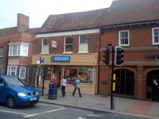 Bakery now trading as Greggs Bakers, reopened July 2009. Formerly The Bakers Oven in St Neots Market Square.