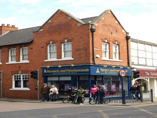 The Norwich and Peterborough Building Society, 1 High Street, St Neots, in May 2010, formerly the FHW shoe shop