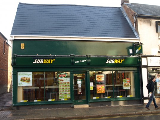 Subway cafe and takeaway, in November 2008, previously Hereward Sports shop in St Neots High Street