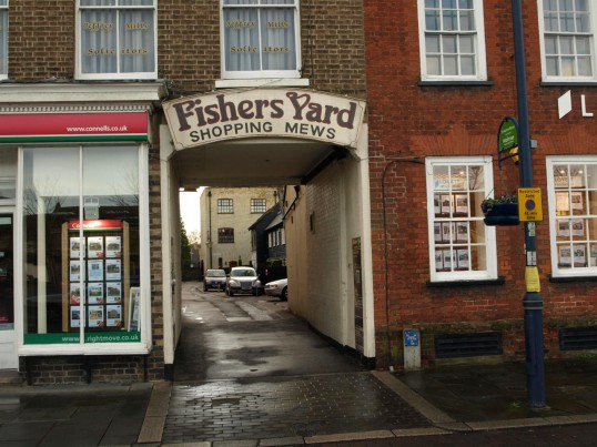 Fishers Yard shopping area entrance just off St Neots Market Square in November 2008