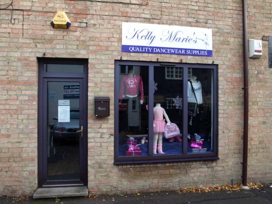 Kelly Marie's Quality Dancewear Supplies in Fishers Yard, just off St Neots Market Square, in November 2008
