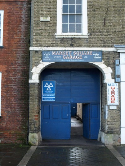 Market Square Garage entrance on the south side of St Neots Market Square in November 2008