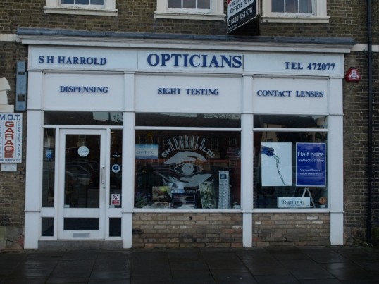S H Harrold Opticians at 22 Market Square, St Neots in November 2008