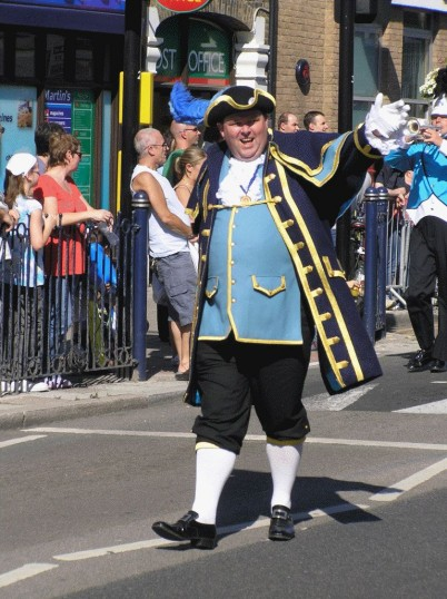 St Neots Town Crier during the 2007 Carnival outside the Post Office in St Neots High Street