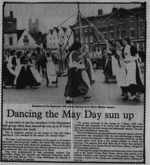 Heartsease dancing in Mayday on Market Square, St Neots. From Hunts Post 10 May 1984.