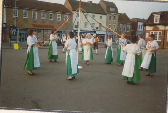 Heartsease dancing round the Maypole on Mayday, in St Neots Market Square in 1995