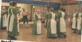 """Heartsease dancers performing """"Hunsden House"""" for the local History society meeting in Eynesbury School, December 2002."""