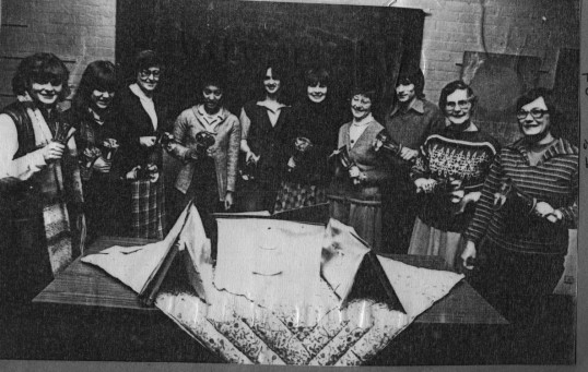 St Neots Handbell Ringers perform for St Neots Gateway Swingalong Club, meeting in the Youth Centre, in 1980