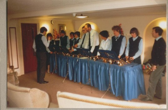 St Neots Handbell Ringers performing in Watford in April 1987.