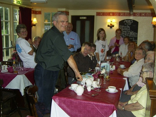 St Neots Handbell Ringers celebrating their 25 Anniversary at The White Swan, Conington, in 2005
