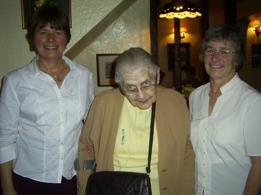 Three founder members of St Neots Handbell Ringers 25 years on, in 2005