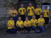 St Neots Handbell Ringers outside St Marys Church, St Neots, in 2004