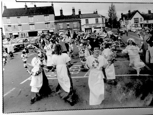 Heartsease dancing The Snowflake Reel on St Neots Market Square in 1981.