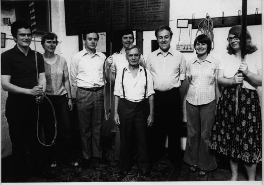 St Neots, St Marys Church bellringers after ringing the 100th peal on the bells, for the Queen Mother's 80th birthday, in 1980