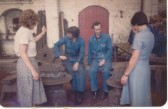 St Neots - Stirring the molten metal of the new treble bells for St Neots Parish Church at Loughborough Bell Foundry, in 1984