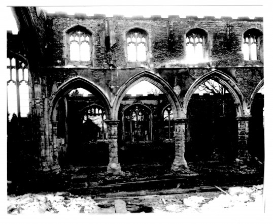 Eaton Socon, St Mary's Church after the fire in February 1930