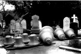 Eaton Socon Church - new bells sitting in the churchyard ready to be hung, after the 1930 fire