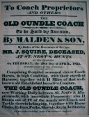 Sale of Squires Coach business on the Great North Rd in 1825
