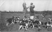 William Addington from Cross Hall Lodge in Eaton Ford - hunting with his beagles, about 1930