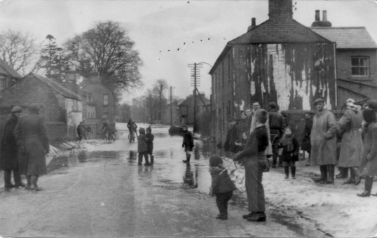 Flooding in Eaton Ford, St Neots Rd, near the Health Centre corner in 1947