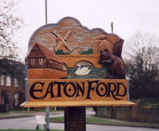 Eaton Ford Village Sign on the village green in 2004