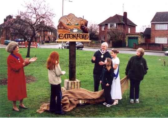 Eaton Ford Village Sign unveiling in 2001, on Eaton Ford Village Green