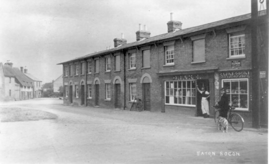 Drakes Post Office and houses facing Eaton Socon Green, around 1915