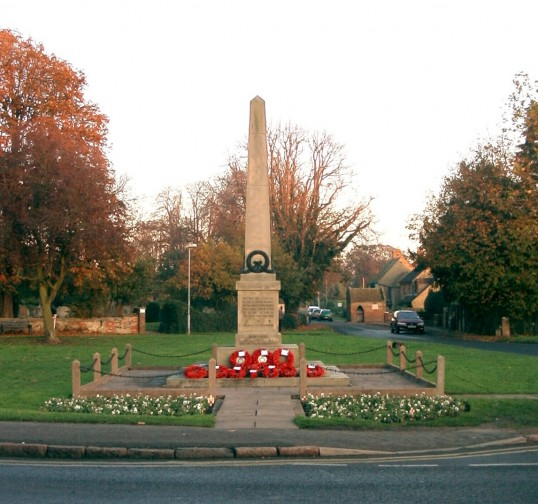 Eaton Socon War Memorial outside St Marys Church, Great North Rd, Eaton Socon in 2005