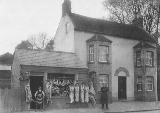 Pecks the Butchers, 163 Great North Rd, Eaton Socon in the 1920s