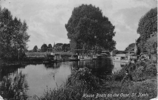 Houseboats on the River Great Ouse in St Neots around 1935