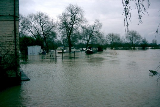 Flooding of the River Great Ouse near Eaton Socon Rivermill - Jan 2003