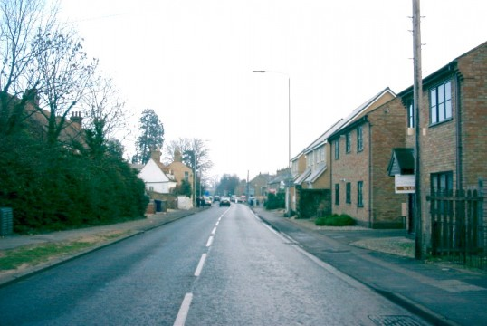 View of St Neots Rd, Eaton Ford, looking eastwards with Jubilee House in the distance, in February 2007