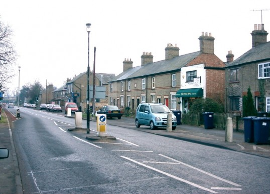 View of St Neots Rd, Eaton Ford, looking eastwards with the Posy Bowl shop in foreground, in January 2007