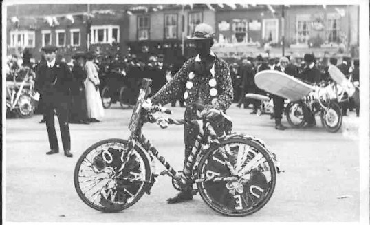 Decorated bicycles at George V Coronation celebration,  St Neots Market Square,  in June 1911