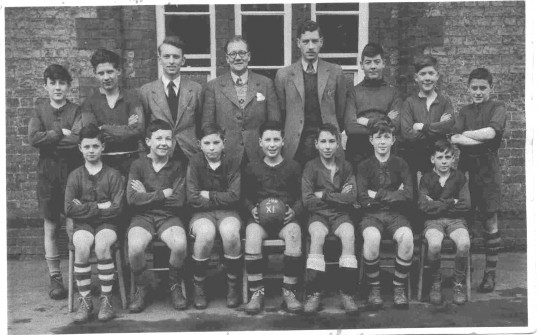 St Neots County Primary School. 2nd X1 football team with teachers and players in 1951.