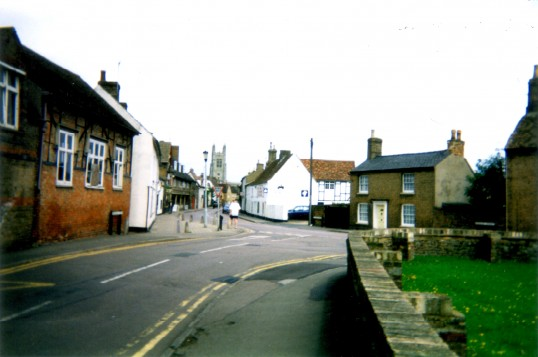 Eynesbury, St Mary's Street, - view looking north in 2000, with the former Eynesbury School on the left and part of the churchyard on the right