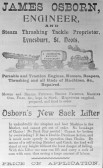 James Osborn, engineer advert, Eynesbury 1901