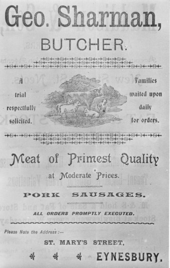 G. Sharman, butchers advert, Eynesbury, in 1901