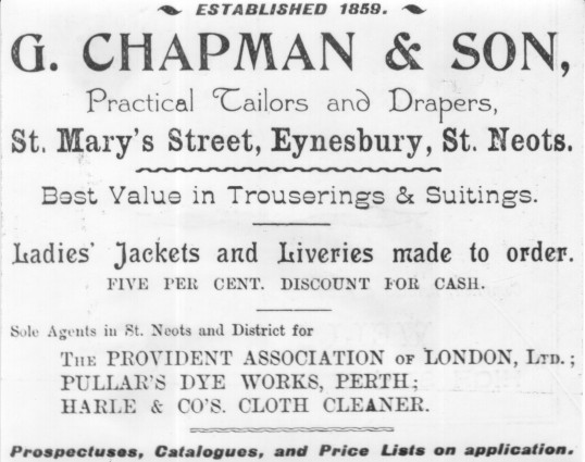 Chapman Tailors advert, Eynesbury, in St Neots Advertiser 1901