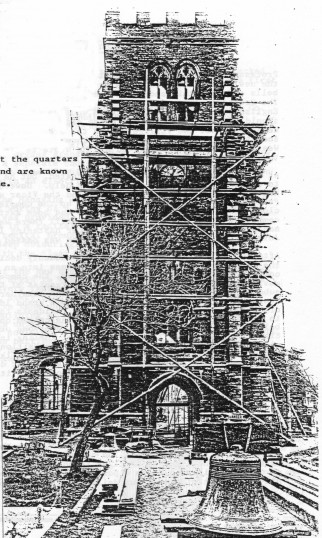 Eaton Socon Church in 1930 - bringing down the bells after the great fire