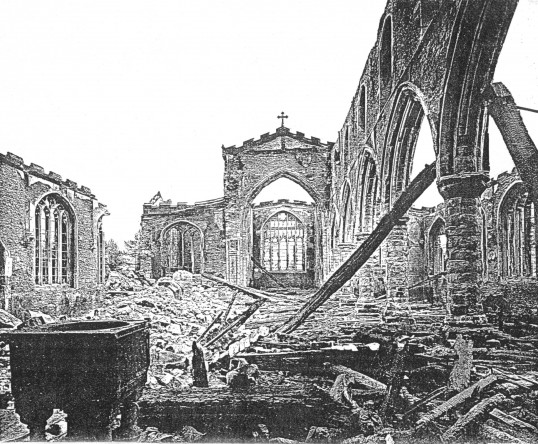 Eaton Socon Church, after the fire in February 1930
