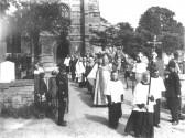 Eaton Socon Church - procession leading from the church after the Rededication service in June 1932