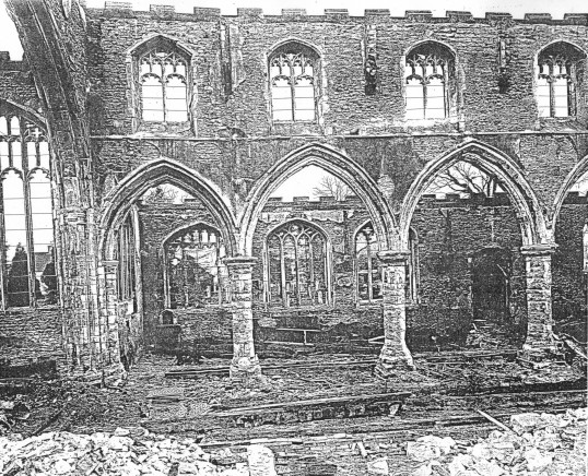 Eaton Socon St Mary's Church, after the fire in February 1930